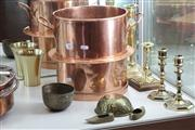 Sale 8014 - Lot 36 - Assorted Brass Candlesticks and Wares plus Copper Chocolate Cooker