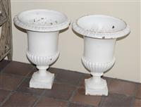 Sale 8171A - Lot 3 - A pair of large C19th French cast iron garden jardinieres, H 60cm