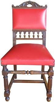 Sale 8258A - Lot 49 - Set of six walnut French fin de siècle dining chairs with red leather upholstery, circa 1900, RRP $2370 set