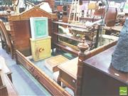 Sale 8402 - Lot 1081 - Late 19th/ Early 20th Century French Faux Bamboo King Single Bed, the tympanum headboard with birdseye maple panel, the posts with f...