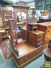 Sale 8428 - Lot 1085 - Edwardian Oak Dressing Chest, with cheval mirror, flanked by shelves & five drawers