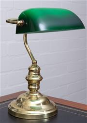Sale 8550H - Lot 139 - A brass bankers lamp with a green glass shade, total H 37cm