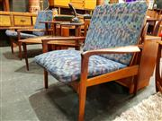 Sale 8782 - Lot 1030 - Pair Of Vintage Teak Framed Armchairs with Upholstered Cushions