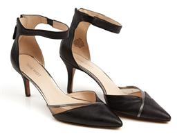 Sale 9092F - Lot 45 - A PAIR NINE WEST HEELS WITH ANKLE STRAP; black and silver, zip at back of heel, size 8.5M.