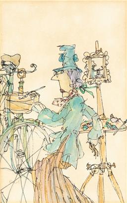 Sale 9123J - Lot 242 - Nicol Artist and bicycle ink and wash on paper 19 x 12cm, frame size 31 x 23cm signed lower left