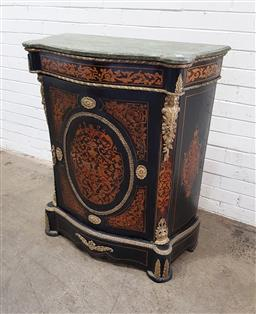 Sale 9126 - Lot 1193 - French Style Ebonised Marquetry Pier Cabinet, with grey marble top, brass mounts and floral inlay (h:112 x w:84 x d:40cm)key in the...