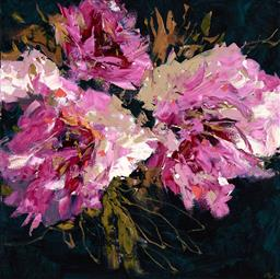 Sale 9252A - Lot 5017 - CHERYL CUSICK Pops of Pink acrylic on canvas 101.5 x 101.5 cm signed lower right, titled verso