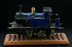 Sale 7907 - Lot 24 - Metal Heavy Gauge Steam Engine in Blue, on Timber Track Stand (Length of Engine - 39cm)