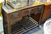 Sale 8031 - Lot 1049 - Antique Chinese 3 Drawer Desk on Broad Stretcher Base