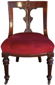 Sale 8258A - Lot 50 - Set of six Victorian mahogany spoonback chairs with carved splat on turned front legs and casters, RRP $3300 set