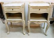 Sale 8272A - Lot 18 - A pair of vintage French provincial style painted lamp tables /side cabinets with fitted Carrara marble tops. Size 72 x  42  x 31 cm