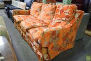 Sale 8566 - Lot 1540 - Orange Fabric Feather Down Filled Cushion 3 Seater Lounge