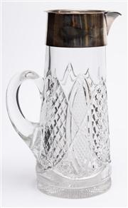 Sale 8590A - Lot 47 - A pressed glass and silver plated claret jug, H 29cm