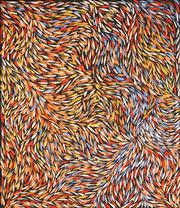 Sale 8611A - Lot 5010 - Jeannie Petyarre (c1956 - ) - Bush Yam Leaves 110 x 95cm