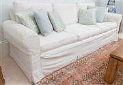 Sale 8595A - Lot 51 - A cream Belgian linen three seater lounge (with removable/ washable covers), with feather filled cushions, H of back 75 x D 85 x L 2...