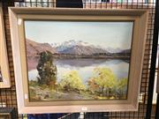 Sale 8726 - Lot 2015 - T R Neilson - Lake Hays, South Island, oil on board 50 x 60 (frame size), signed lower left