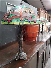 Sale 8777 - Lot 1010 - Pair of Leadlight Shade Table Lamps with Figural Base