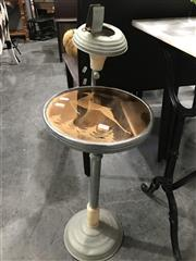 Sale 8787 - Lot 1051 - Retro Side Table With Ashtray & Etched Glass Top Depicting Deer In Forest