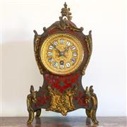 Sale 8878T - Lot 5 - French Boulle Style Clock with Ornate Gilt Face and Roman Numberals with pendulum and key, Height 30cm