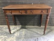 Sale 8976 - Lot 1030 - Victorian Mahogany Side Table, with two drawers & turned legs (h:80 x w:107 x d:51cm)