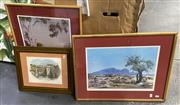 Sale 8998 - Lot 2081 - (6) A Group of three Albert Namatjira decorative prints, together with two hand coloured engraving and a watercolour