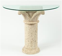 Sale 9099 - Lot 14 - A pair of console tables; each with a demi-lune glass top on a travertine column, Height 75cm Width 80.5cm