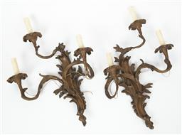 Sale 9123J - Lot 354 - A pair of heavy vintage patinated bronze Rococo style 3 branch electrified wall brackets. Ht: 60cm x W: 44cm
