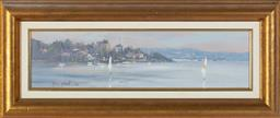 Sale 9190H - Lot 108 - Two oil on boards, Allan Fizzell, Ryde morning, and Putney waters, each image 14cm x 55cm