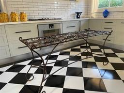 Sale 9248H - Lot 188 - An iron table base with scrolled legs Length 150cm Height 72cm Width 62cm