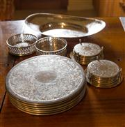 Sale 7981B - Lot 93 - A set of silverplated strachan dinner and drinks coasters plus a small tray and pierced bottle coasters