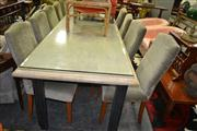 Sale 8093 - Lot 1071 - Metal Based Table with Composite Stone Top and Chairs