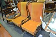 Sale 8129 - Lot 1034 - Pair Of Highback Carver Chairs With Rattan Sides