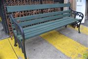 Sale 8326 - Lot 1399 - Long Green Garden Bench With Iron Ends