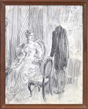 Sale 8408 - Lot 561 - Norman Lindsay (1879 - 1969) - Lady and Gentleman 23.5 x 18.5cm