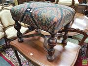 Sale 8416 - Lot 1010 - 17th Century Style Stool with diaper upholstery turned legs & stretchers