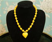 Sale 8448A - Lot 45 - Vintage 1960s retro yellow costume acrylic beaded heart necklace Condition: very good Measurements: 55cm length