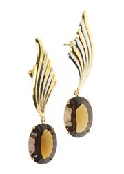Sale 8482A - Lot 330 - A PAIR OF 18CT GOLD GEMSET EARRINGS; featuring fancy oval cut smokey quartz to wing design stud fittings with white gold highlights,...