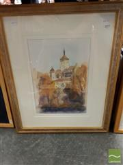 Sale 8495 - Lot 2032 - Jim Keller (2 works) - Distant View of a European Town; Abstract frame size: 59.5 x 49cm; 40 x 38cm