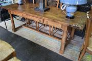 Sale 8532 - Lot 1260 - Parquetry Top Country Dining Table on Stretcher Base with Six Drawers