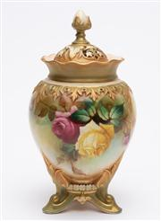 Sale 8590A - Lot 11 - An early C20th Royal Worcester pot pourri with Hadley shape painted with roses, H 19cm