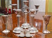 Sale 8649A - Lot 30 - An EP candelabrum, with two matching candle sticks, two EP goblets and a cruet