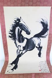 Sale 8960 - Lot 36 - A Horse themed Chinese scroll (172cm x 68.5cm)