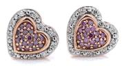 Sale 9044J - Lot 59 - A PAIR OF DIAMOND AND GEMSTONE STUD EARRINGS; each a 10 x 9.5mm heart shape cluster pave set with amethysts to ma perimeter of 10 si...