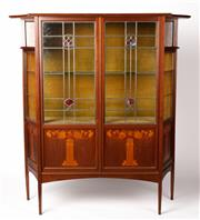 Sale 9048A - Lot 15 - An Art Nouveau mahogany leadlight display cabinet with floral inlay (h:159 x w:152 x d:44cm) Purchased London 6th May 1977  Portob...