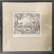 Sale 9041 - Lot 2007 - Pro Hart The Creek etching ed. 22/25 20 x 25cm (frame: 50 x 50cm) signed