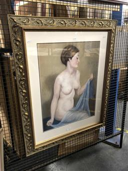 Sale 9172 - Lot 2056 - Artist Unknown (F.N.D) Nude in Pose, pastel, frame: 85  x77 cm, signed lower right