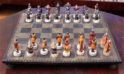 Sale 9190H - Lot 114 - A leather effect tile top chess board with associated pieces, (missing a couple), 44cm x 44cm