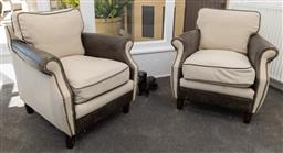 Sale 9248H - Lot 61 - A pair of leather and canvas armtub chairs, height 78 x width 75 x depth 70cm