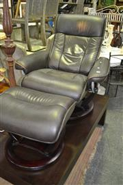 Sale 8093 - Lot 1049 - Leather Armchair w Ottoman