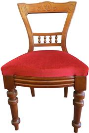 Sale 8258A - Lot 52 - Long set of twelve late Victorian mahogany dining chairs circa 1890, Arts and Crafts influence with red dralon upholstery, very good...